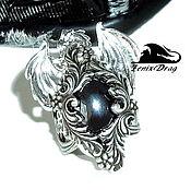 """Украшения ручной работы. Ярмарка Мастеров - ручная работа Кольцо / перстень """"Ледяной дракон. Готика"""" с черным камнем (гематит). Handmade."""