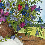 Картины и панно handmade. Livemaster - original item bouquet of wildflowers. The watercolor paintings for the interior. Handmade.