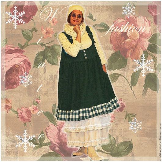 """Платья ручной работы. Ярмарка Мастеров - ручная работа. Купить Сарафан """"Зимняя романтика"""". Handmade. Тёмно-зелёный, зимнее бохо"""