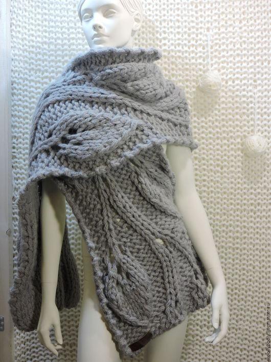 Шарфы и шарфики ручной работы. Ярмарка Мастеров - ручная работа. Купить Snowleaves, объемный крупновязаный шарф 100% высококачественная шерсть. Handmade.