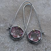 Kalachi earrings handmade. Livemaster - original item Earrings with pink tourmalines, silver and brass. Handmade.