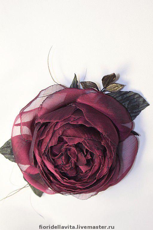 """Броши ручной работы. Ярмарка Мастеров - ручная работа. Купить Роза-брошь """"Бургундия"""". Handmade. Цветок из ткани, бордовый"""