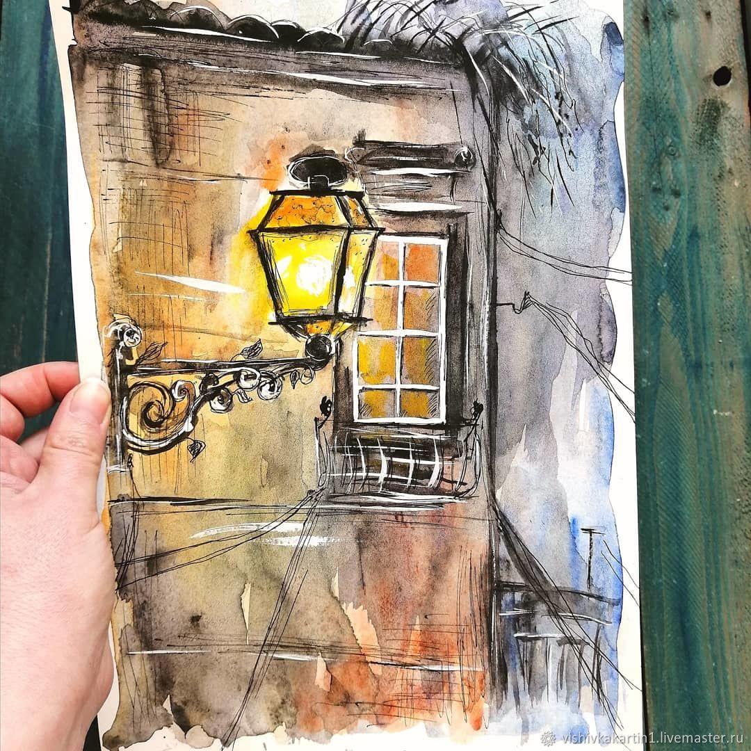 Сон старого фонаря, акварель, Картины, Ясный,  Фото №1