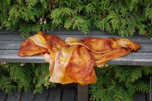"""Шарфы и шарфики ручной работы. Ярмарка Мастеров - ручная работа. Купить Легкий шарф """"Огненный"""" шелковый эко принт желтый оранжевый. Handmade."""