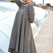 Одежда ручной работы. Ярмарка Мастеров - ручная работа Асимметричное платье в клетку, Шерстяное платье. Handmade.