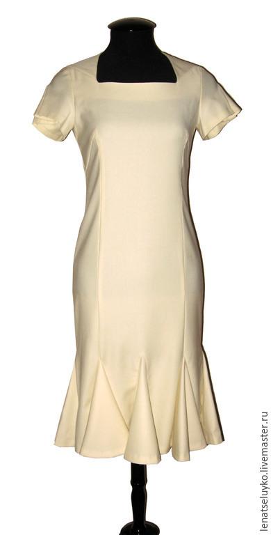 """Платья ручной работы. Ярмарка Мастеров - ручная работа. Купить Платье из тонкой шерсти """" Молочное"""". Handmade. Белый"""
