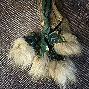 Сумки и аксессуары handmade. Livemaster - original item Leather keychain with leaves and fur (green). Handmade.