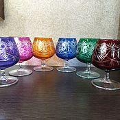 Стаканы винтажные ручной работы. Ярмарка Мастеров - ручная работа Разноцветные бокалы под коньяк цветное стекло. Handmade.