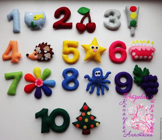 Развивающие игрушки ручной работы. Ярмарка Мастеров - ручная работа. Купить Цифры из фетра - веселый счет (Авторская работа!!!). Handmade.