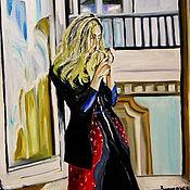 Картины и панно ручной работы. Ярмарка Мастеров - ручная работа картина маслом 70х50 У ОКНА. Handmade.
