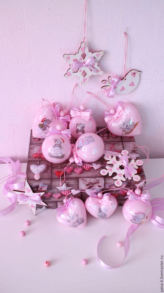 """Новый год 2017 ручной работы. Ярмарка Мастеров - ручная работа. Купить """"Тедди мишки"""" в розовом набор елочных игрушек. Handmade."""