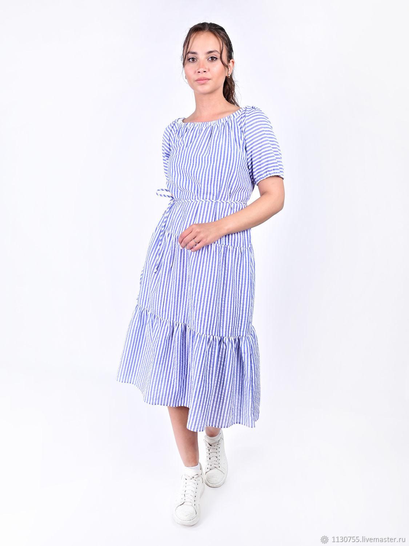 Платье Кристина  из льна в голубую полоску, Платья, Москва,  Фото №1