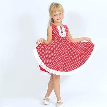 Работы для детей, ручной работы. Ярмарка Мастеров - ручная работа Нарядное платье для девочки из американского хлопка в горошек 110-116. Handmade.