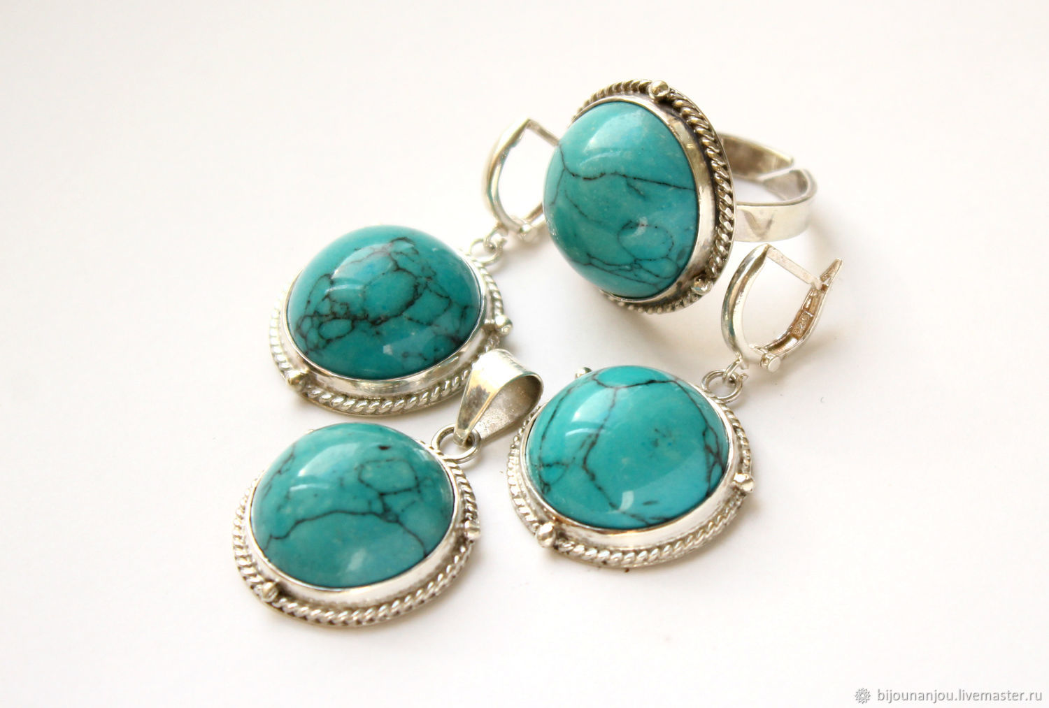 Earrings, ring and pendant of 925 silver and turquoise, Jewelry Sets, Yerevan,  Фото №1