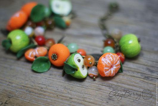 """Браслеты ручной работы. Ярмарка Мастеров - ручная работа. Купить Браслет """"Яблоки и мандарины"""". Handmade. Полимерная глина, оранжевый, браслет"""