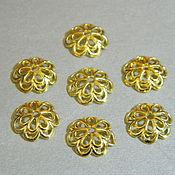 Материалы для творчества handmade. Livemaster - original item Caps for beads rhodium plating. 10 pieces. Handmade.