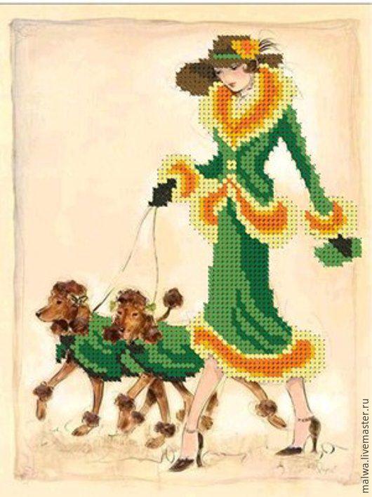 Вышивка схемы дама с собачками