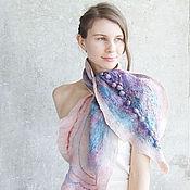 Аксессуары ручной работы. Ярмарка Мастеров - ручная работа Нуновойлочный шарф, шибори, очень нежный. Handmade.