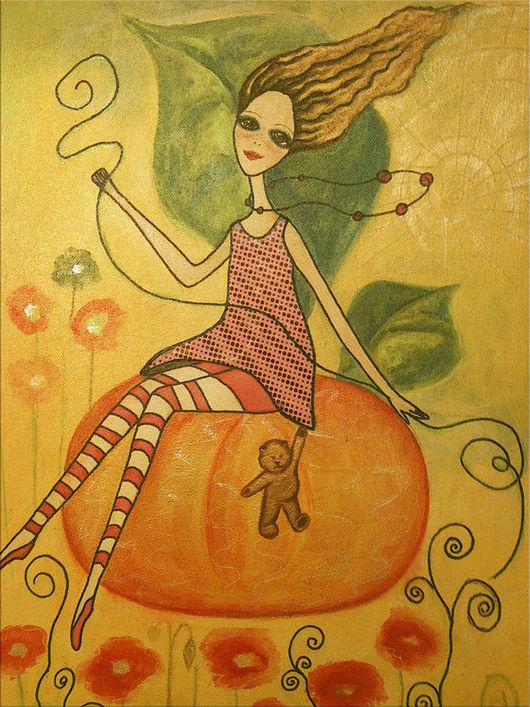 Фэнтези ручной работы. Ярмарка Мастеров - ручная работа. Купить Солнечный день. Handmade. Фея, девушка, солнечный день, цветы