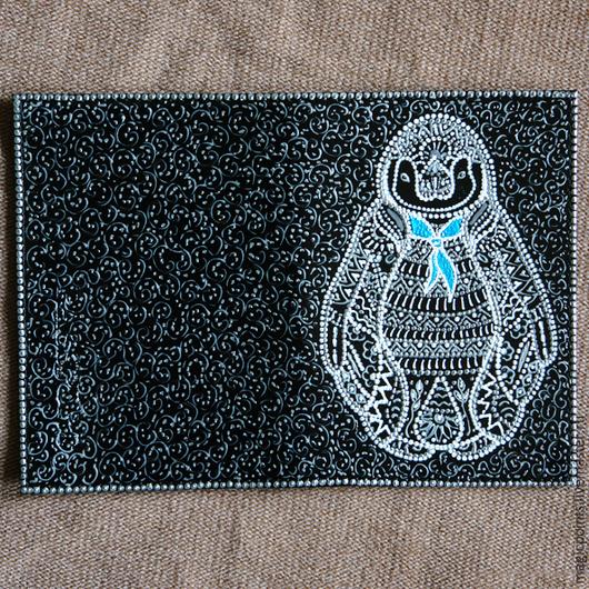 Обложка на паспорт `Пингвин` Обложка для паспорта с росписью. Точечная роспись . Обложка . Ручная работа.