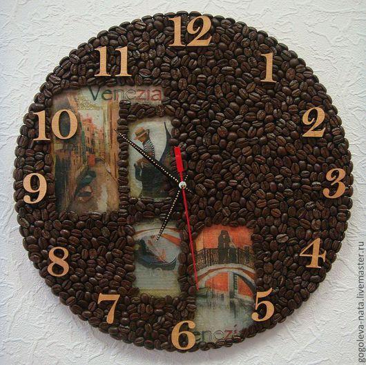 Часы для дома ручной работы. Ярмарка Мастеров - ручная работа. Купить Кофейные часы с изображением города. Handmade. Кофе