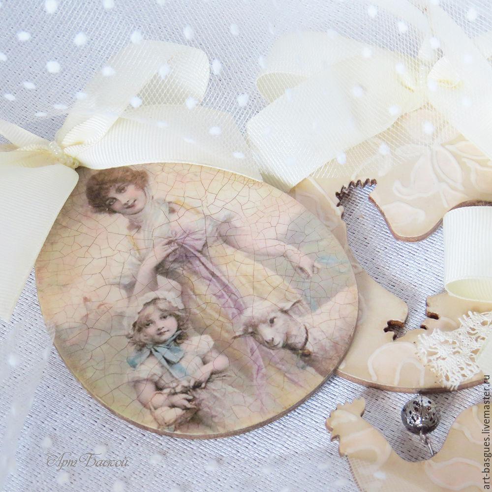 Пасхальные подвески  винтаж овечка пасха цыплята весна, Подвески, Великие Луки,  Фото №1