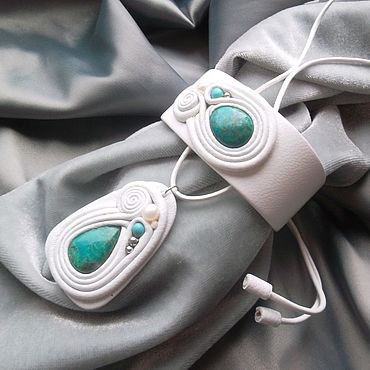 Decorations handmade. Livemaster - original item Jewelry set: with chrysocolla 2. Handmade.