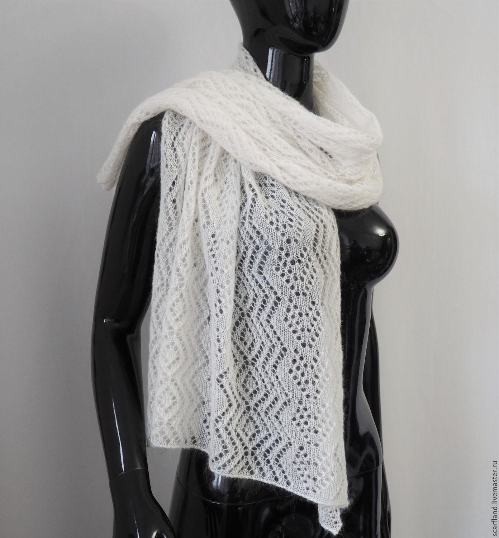 вязание ажурный шарф из мохера