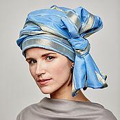 Аксессуары handmade. Livemaster - original item Turban-transformer of blue cotton with gold stripes. Handmade.