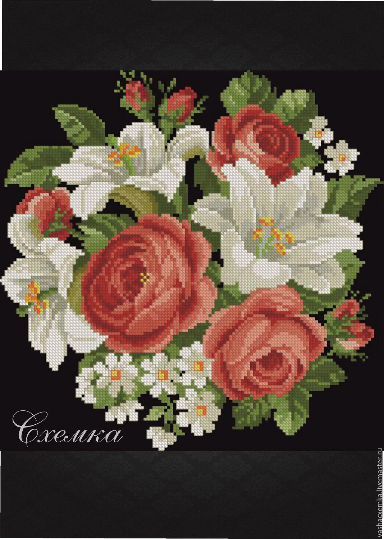 Вышивка крестом роз и лилий