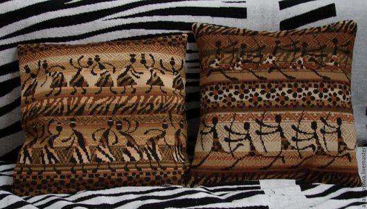 Текстиль, ковры ручной работы. Ярмарка Мастеров - ручная работа. Купить Африка. Handmade. Интерьерная подушка, Вышивка крестом, коричневый