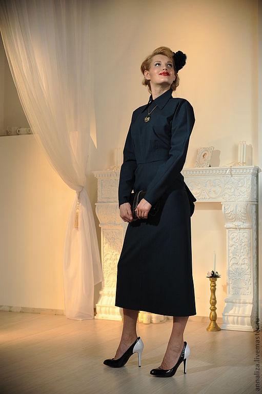 """Платья ручной работы. Ярмарка Мастеров - ручная работа. Купить Платье """"А-ля турнюр"""". Handmade. Тёмно-зелёный"""