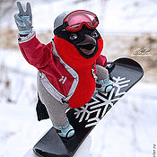 Мягкие игрушки ручной работы. Ярмарка Мастеров - ручная работа Снегирь - сноубордист. Handmade.