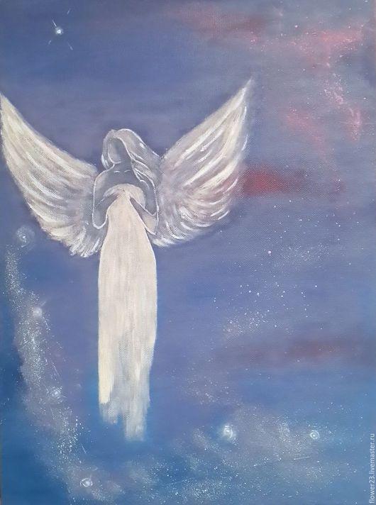 """Фантазийные сюжеты ручной работы. Ярмарка Мастеров - ручная работа. Купить картина """"Ангел"""". Handmade. Ангел, девушка в белом, звезды"""