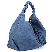 Сумка - Мешок  - Хобо - Шоппер с двумя карманами и кисточкой