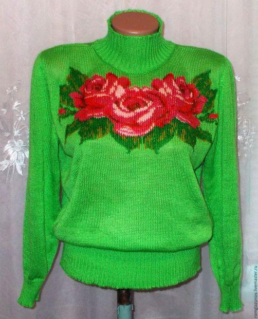 """Кофты и свитера ручной работы. Ярмарка Мастеров - ручная работа. Купить вязаный свитерок """" Розовые розы"""". Handmade. полушерсть"""