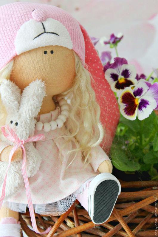 Коллекционные куклы ручной работы. Ярмарка Мастеров - ручная работа. Купить Малышка зайка. Handmade. Бледно-розовый, подарок подруге