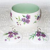 Украшения handmade. Livemaster - original item White bracelet & earrings Blueberry and Raspberry summer Purple purple. Handmade.