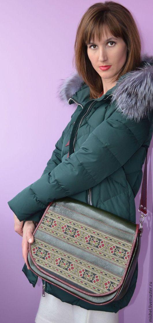 Женские сумки ручной работы. Ярмарка Мастеров - ручная работа. Купить Сумка темно-зеленая с тесьмой.. Handmade. Тёмно-зелёный