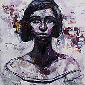 """Картины ручной работы. Ярмарка Мастеров - ручная работа """"Портрет  на сером фоне."""". Handmade."""