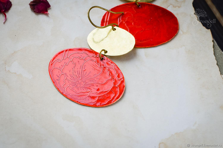 Large boho earrings Brass earrings large Red gold Oval, Earrings, Ulan-Ude,  Фото №1