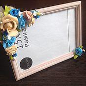 Сувениры и подарки ручной работы. Ярмарка Мастеров - ручная работа Рамки для фото с цветами из холодного фарфора. Handmade.