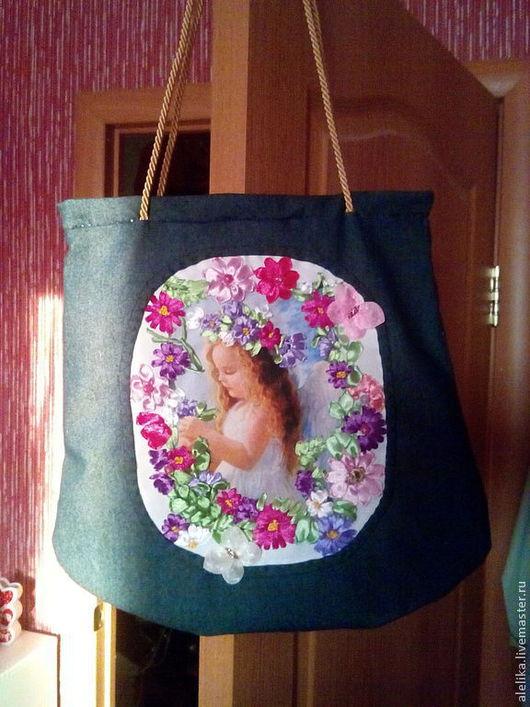 Женские сумки ручной работы. Ярмарка Мастеров - ручная работа. Купить сумка с вышивкой. Handmade. Синий, вышивка лентой