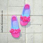 """Обувь ручной работы. Ярмарка Мастеров - ручная работа """"Принцесса Роз"""", войлочные домашние тапочки. Handmade."""