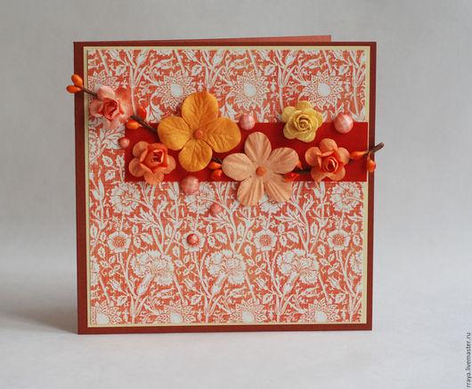 """Открытки для женщин, ручной работы. Ярмарка Мастеров - ручная работа. Купить Открытка цветочная """" Оранжевая"""". Handmade. Рыжий"""