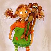 Куклы и игрушки ручной работы. Ярмарка Мастеров - ручная работа Пеппи и Нельсон. Handmade.