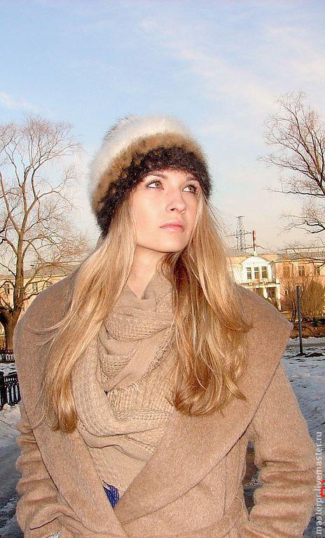 Шапка вязанная «Теплое Обаяние2» Шапка связана из «живой нитки»  100% собачий пух  Помпон из белого полярного песца