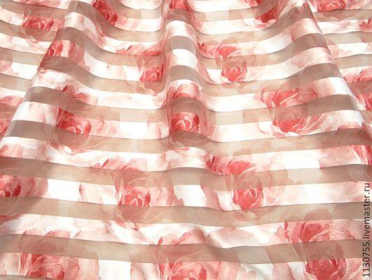 Шитье ручной работы. Ярмарка Мастеров - ручная работа. Купить Новинка ! ткань органза с цветами красными. Handmade. Ткань