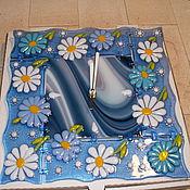 """Для дома и интерьера ручной работы. Ярмарка Мастеров - ручная работа Часы настенные  """"Летние цветочки""""(фьюзинг). Handmade."""