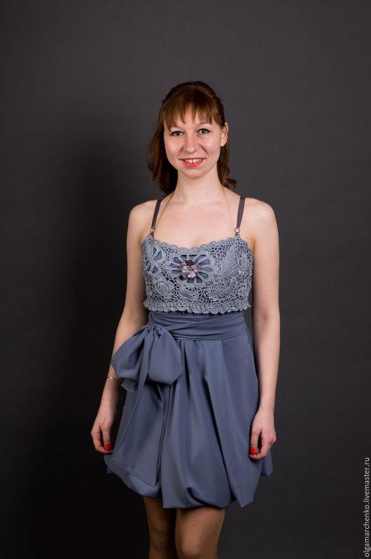 Платья ручной работы. Ярмарка Мастеров - ручная работа. Купить Комбинированное платье. Handmade. Платье комбинированное, платье коктейльное, серый